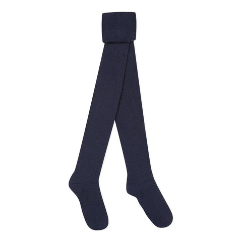 Girls Navy Ribbed Tights - Kizzies, Tights - Childrens Wear