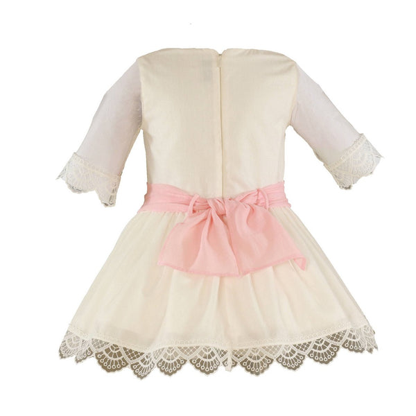 Girls Beige Dress 221V - Kizzies, Dresses - Childrens Wear