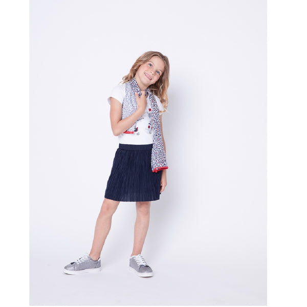 Girls Navy Pleated Dress with Red Sequin Detail - Kizzies, Dresses - Childrens Wear