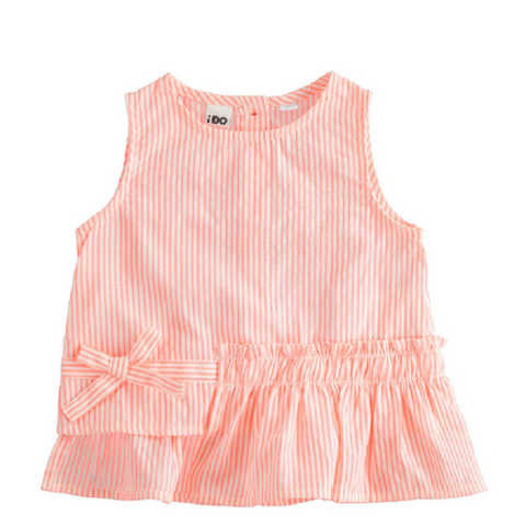iDO Girls Striped Top Coral