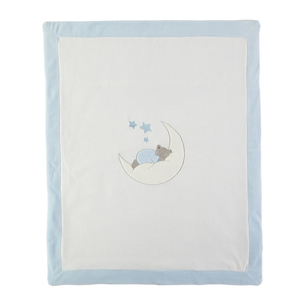 Baby Blue Blanket with Bear on Moon - Kizzies, Blankets - Childrens Wear