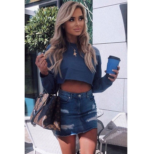 Distressed Frayed Denim Mini Skirt Mid Blue