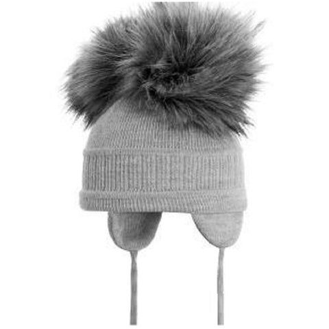 Satila Tindra Light Grey Fur Pom Pom Hat - Kizzies, Hats - Childrens Wear