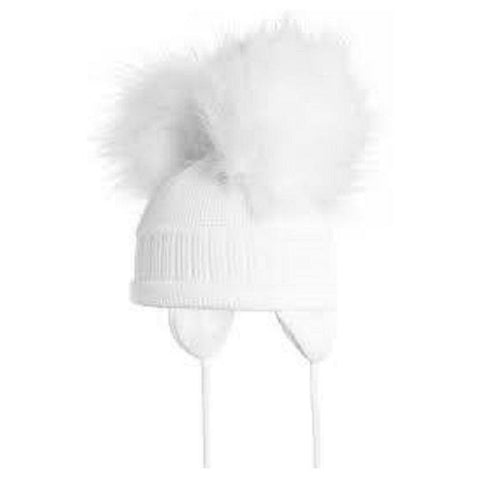 Satila Tindra White Fur Pom Pom Hat - Kizzies, Hats - Childrens Wear