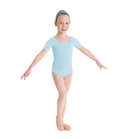 Short Sleeve Leotard Pale Blue - Kizzies, Leotards - Childrens Wear