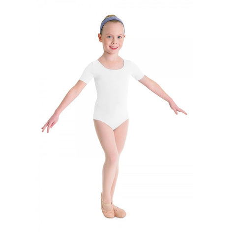 Short Sleeve Leotard White - Kizzies, Leotards - Childrens Wear