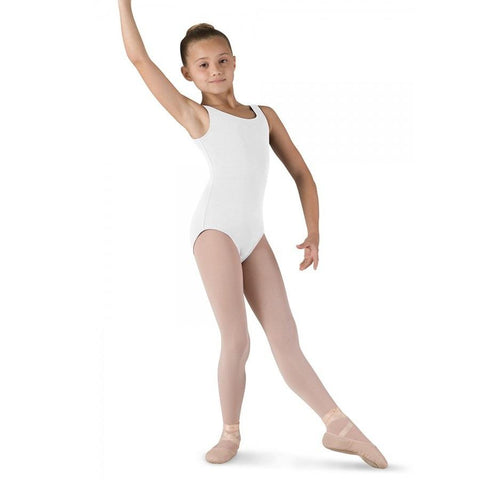 Round Neck Tank Leotard White - Kizzies, Leotard - Childrens Wear