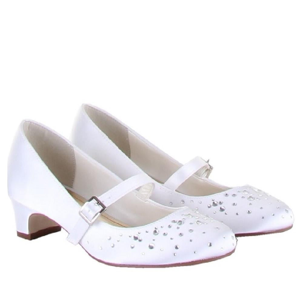 Rainbow Club White Diamante Shoes Cherry | Kizzies