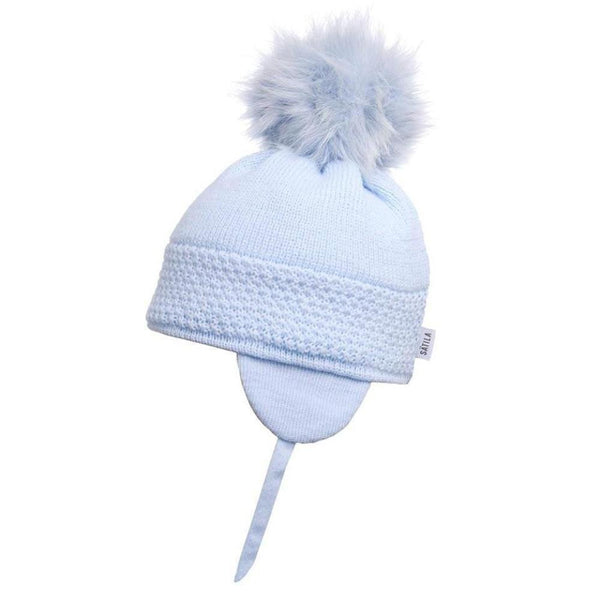 Satila Daisy Blue Fur Pom Pom Hat | Kizzies