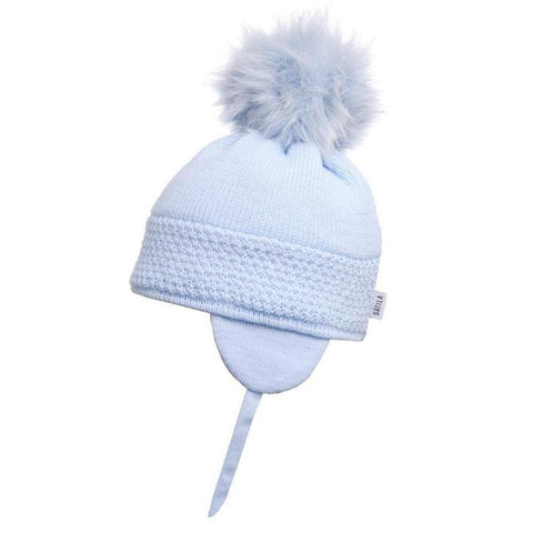 Satila Daisy Blue Fur Pom Pom Hat - Kizzies, Hats - Childrens Wear