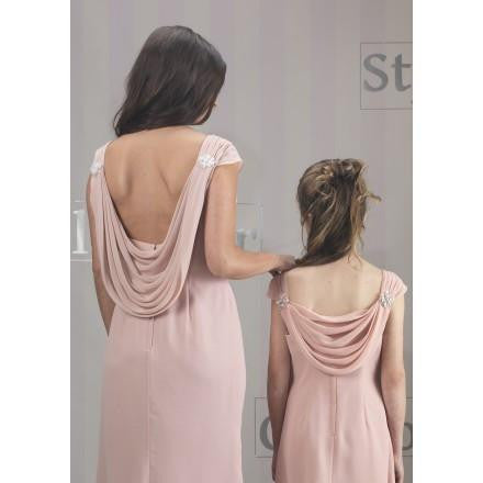 Ladies Cowl Back Full Length Dress Silver - Kizzies, Dresses - Childrens Wear