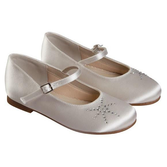 Rainbow Club Ivory Satin Shoes Emily - Kizzies, Shoes - Childrens Wear