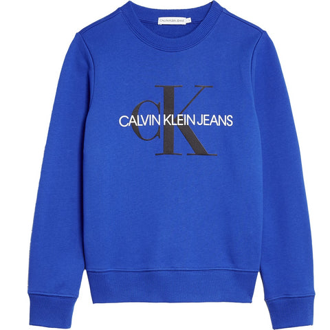 CK Kids Monogram Logo Sweatshirt Blue