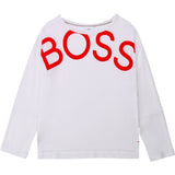 BOSS Girls L/s Top White Red