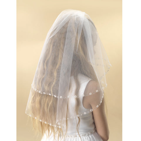 Pearl & Flower Trim Communion Veil - Kizzies, Veils - Childrens Wear