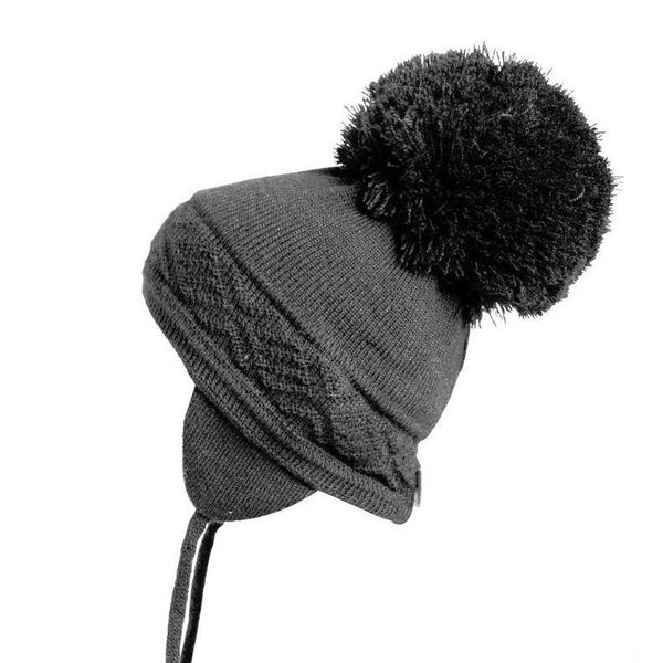 Satila Malva C31817 Grey Classic Big Pom Hat - Kizzies, Hats - Childrens Wear