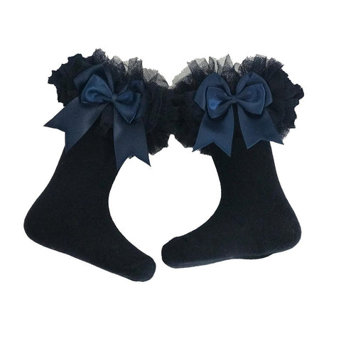 Mintini Navy Bow Ruffle Socks