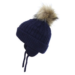 Satila Piper Navy Fur Pom Pom Hat