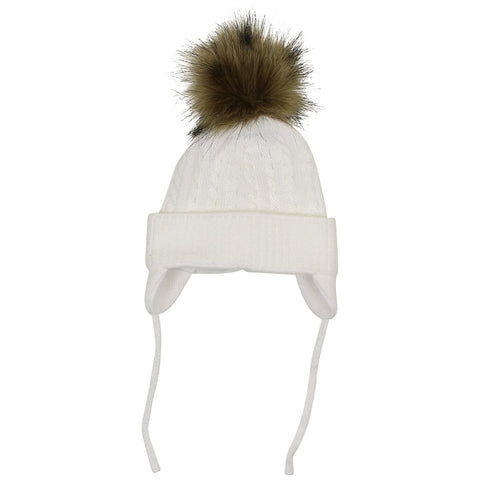 Satila Piper White Fur Pom Pom Hat
