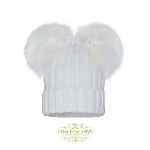 Pom Pom Envy Hat Double Dream White - Kizzies, Hats - Childrens Wear