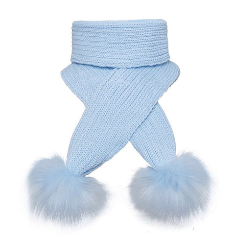 Pom Pom Envy Scarf Pale Blue -Kizzies Childrenswear
