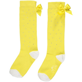 Falling Roses Lemon Sparkle Knee High Socks - Kizzies, Socks - Childrens Wear
