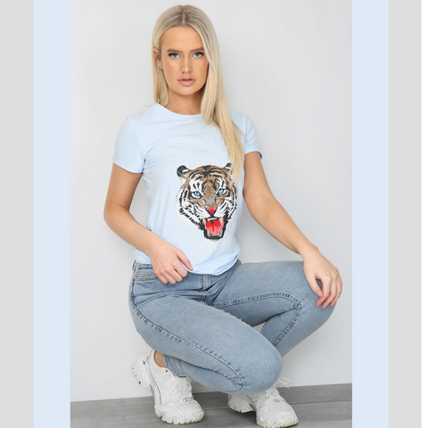 Tiger Print T-Shirt Blue