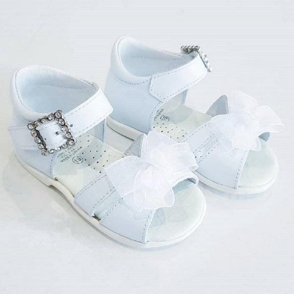 Classic White Sandals with Diamante Buckle - Kizzies, Shoes - Childrens Wear