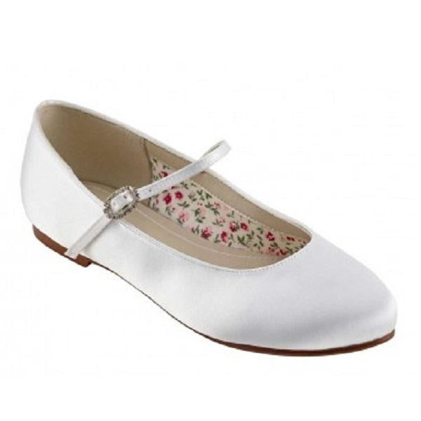 Rainbow Club White Satin Ballet Pump Shoe Binx | Kizzies