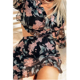 Black Floral Tie Back Mini Dress