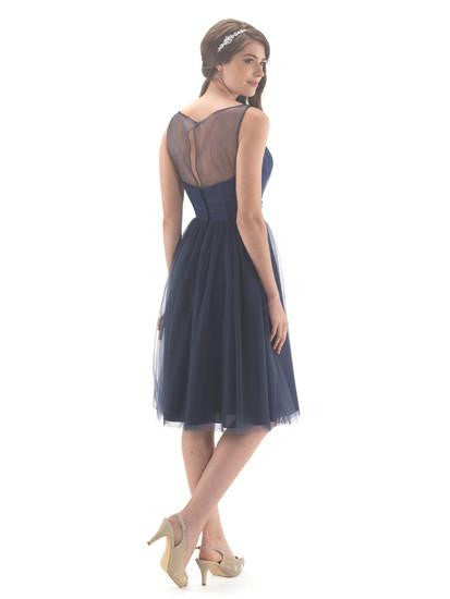 Ladies Tulle Tea Length Navy Dress - Kizzies, Dresses - Childrens Wear