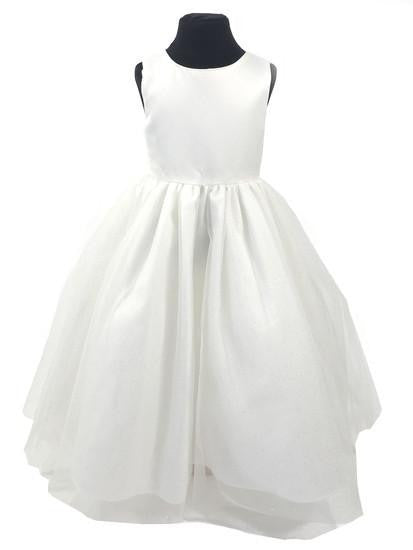 Linzi Jay FL700 Satin Dress with Sparkle Tulle Skirt - Kizzies, Dress - Childrens Wear