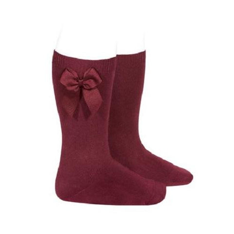Condor Garnet Knee High Socks with Bow - Kizzies, Socks - Childrens Wear