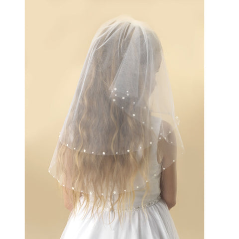 Flower and Pearl Communion Veil - Kizzies, Veils - Childrens Wear