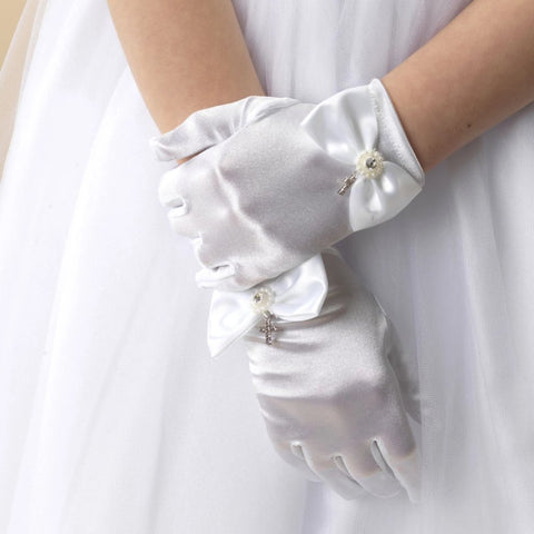 Satin Gloves with Bow & Diamante Cross - Kizzies, Gloves - Childrens Wear