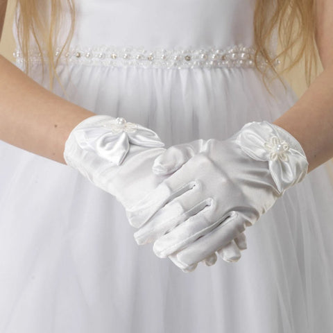Girls satin gloves with bow LG83