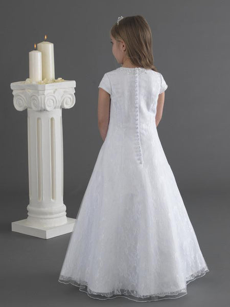 Lace & Tulle A-Line Communion Dress - Kizzies, Dresses - Childrens Wear