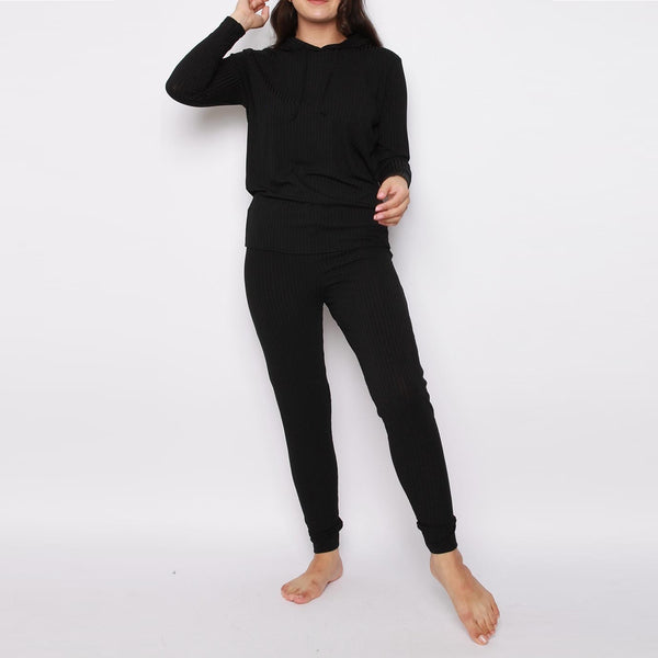 Black Hooded Ribbed Jogger Co-Ord Loungewear
