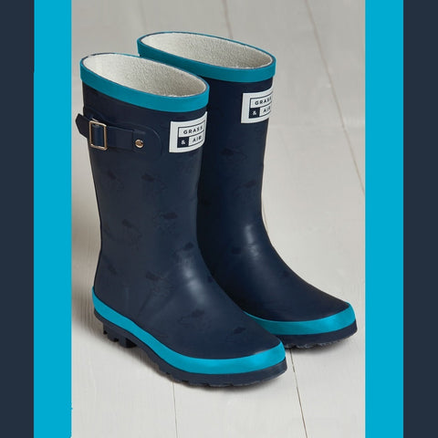 G&A Older Kids Wellington Boots Navy