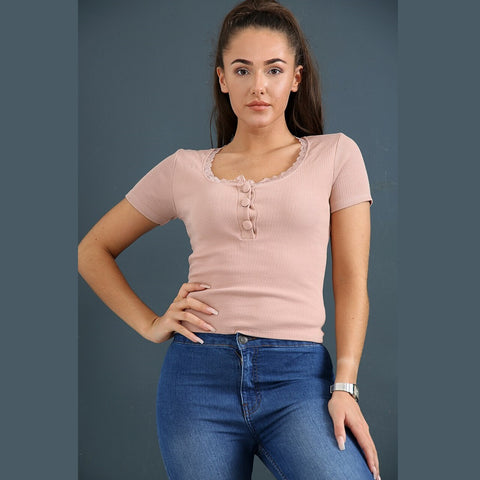 Lace Trim Button Top Pink