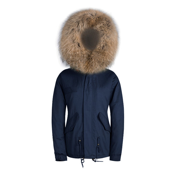 Mens Raccoon Fur Collar Parka Jacket with Natural Fur -  - 7