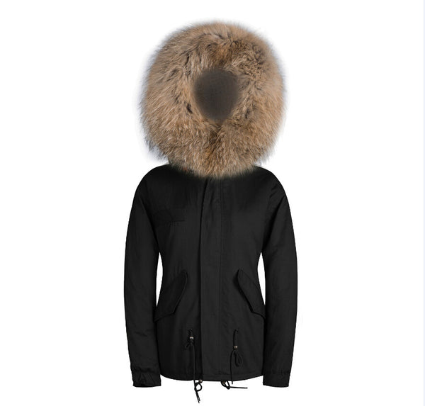 Mens Raccoon Fur Collar Parka Jacket with Natural Fur -  - 4