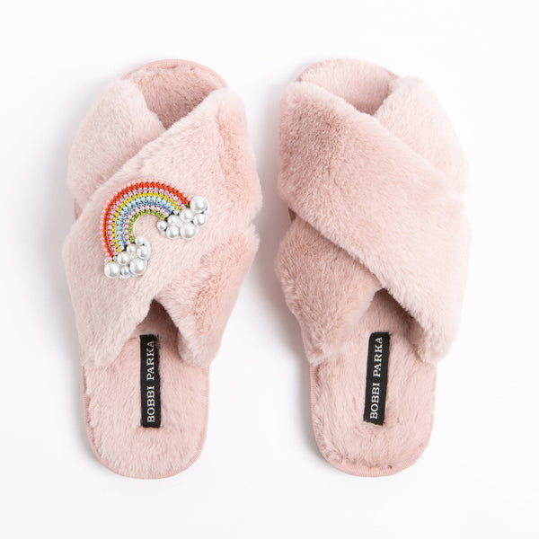Bobbi Parka fluffy faux fur slippers in pink with a crystal rainbow brooch