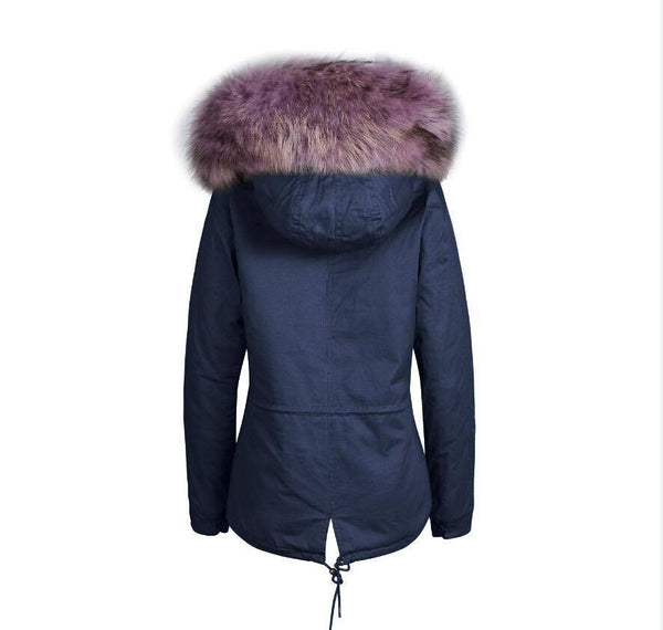 Raccoon Fur Collar Parka Jacket with Lilac Fur 3/4 -  - 3