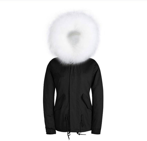 Raccoon Fur Collar Parka Jacket with White Fur -  - 2