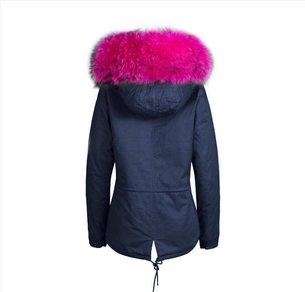 Raccoon Fur Collar Parka Jacket with Fuchsia Fur -  - 4