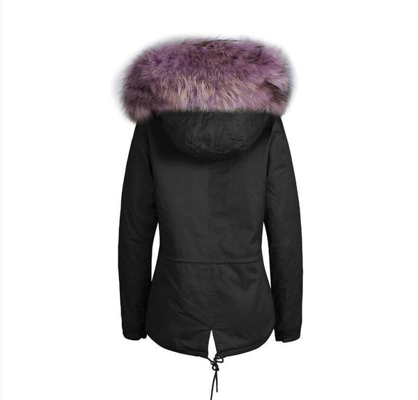 Raccoon Fur Collar Parka Jacket with Lilac Fur 3/4 -  - 4