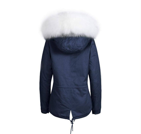 Raccoon Fur Collar Parka Jacket with White Fur -  - 4