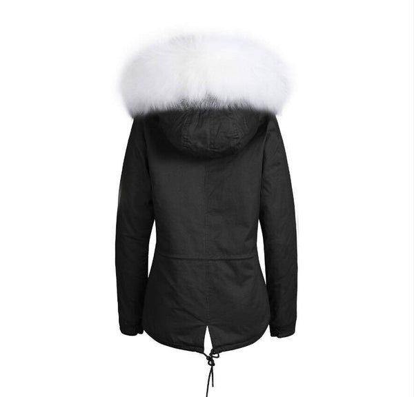 Raccoon Fur Collar Parka Jacket with White Fur -  - 6