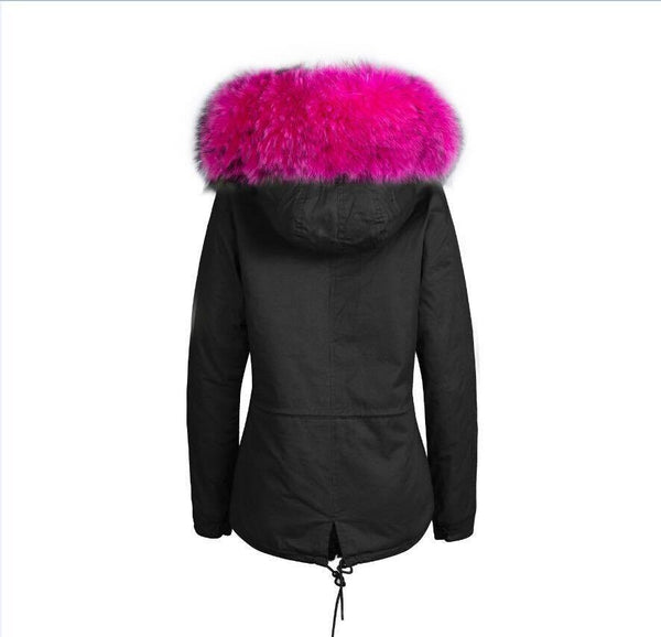 Raccoon Fur Collar Parka Jacket with Fuchsia Fur -  - 6